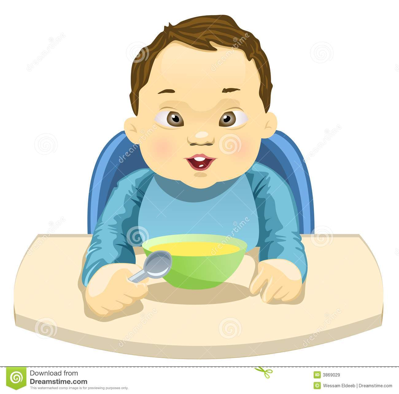 Child Eating His Meal Stock Vector Image Of Minor Baby