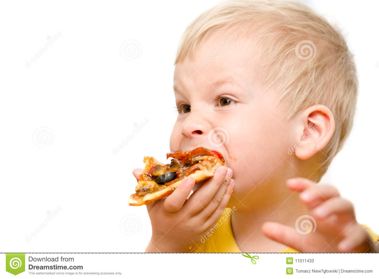 Child eating pizza stock image. Image of head, meal ...