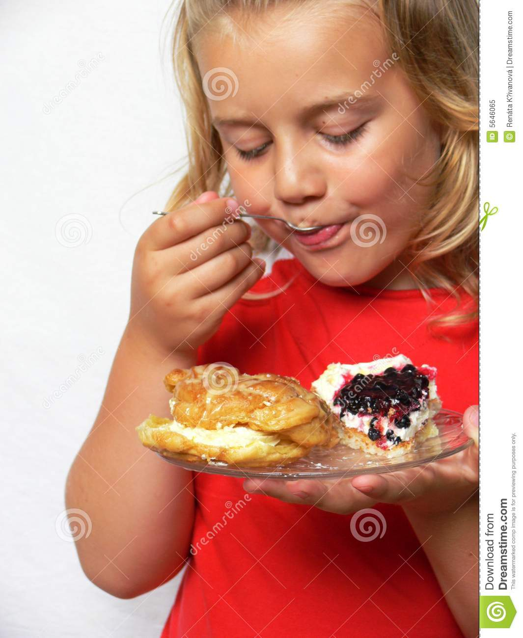 Child is eating sweets