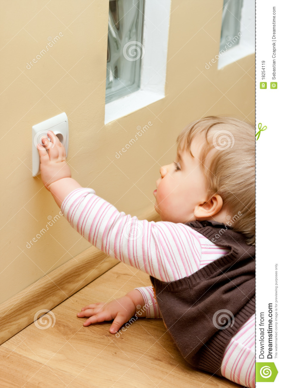 Child At Electric Socket Royalty Free Stock Images Image