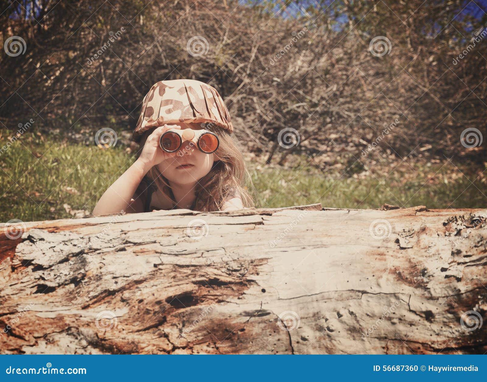 Child Exploring in Woods