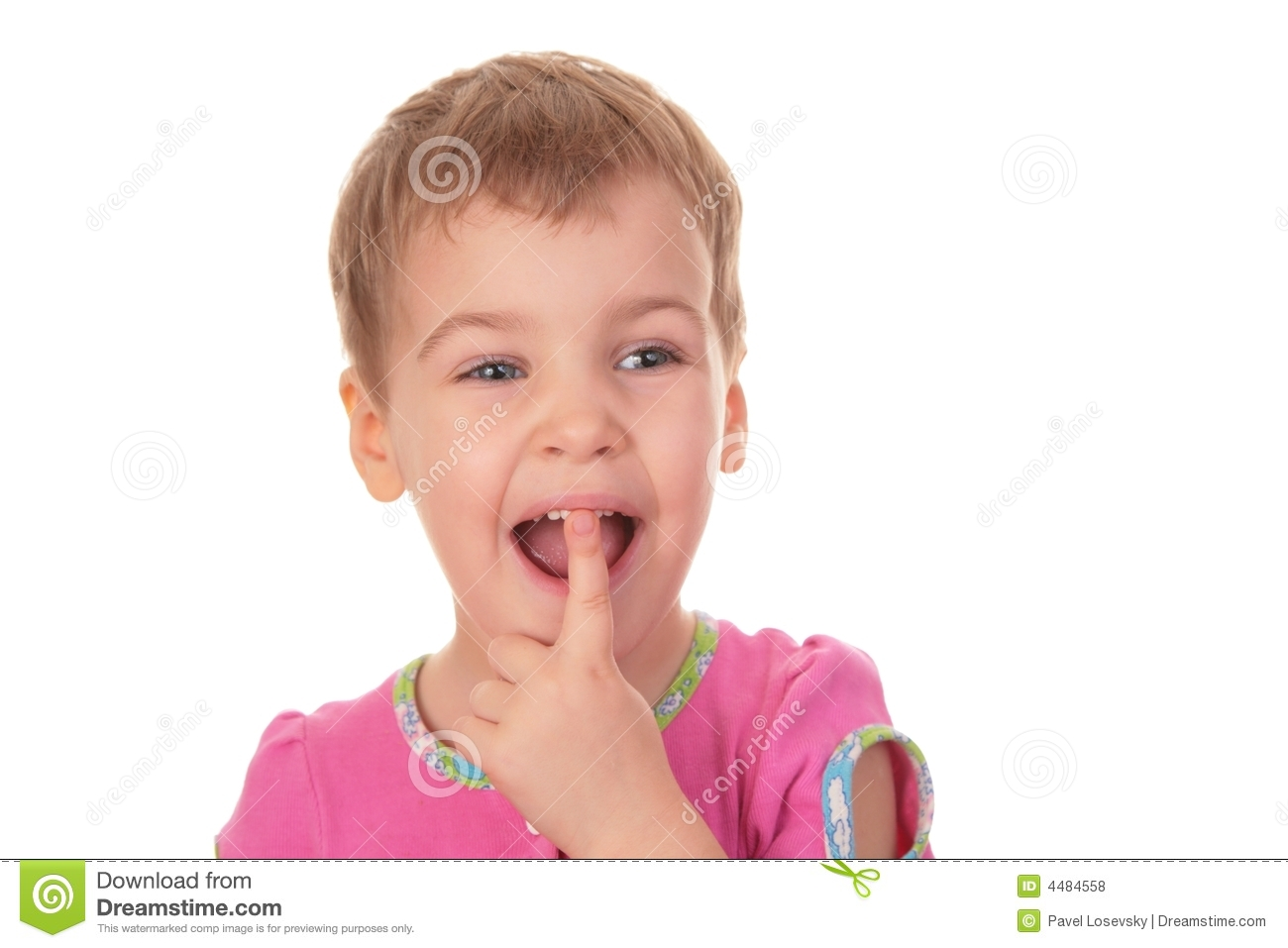 Child With The Finger In Mouth Tooth Royalty Free Stock