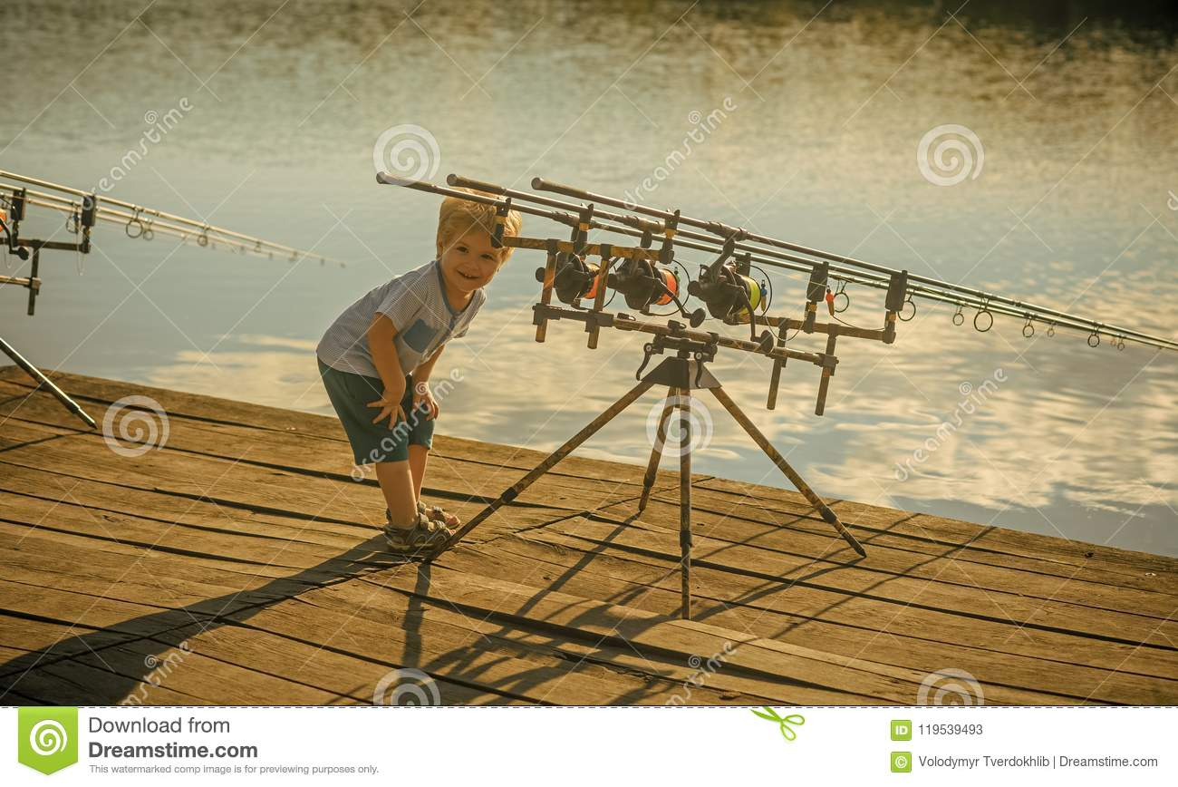 Child is fishing. Angling, fishing, activity, adventure, hobby, sport