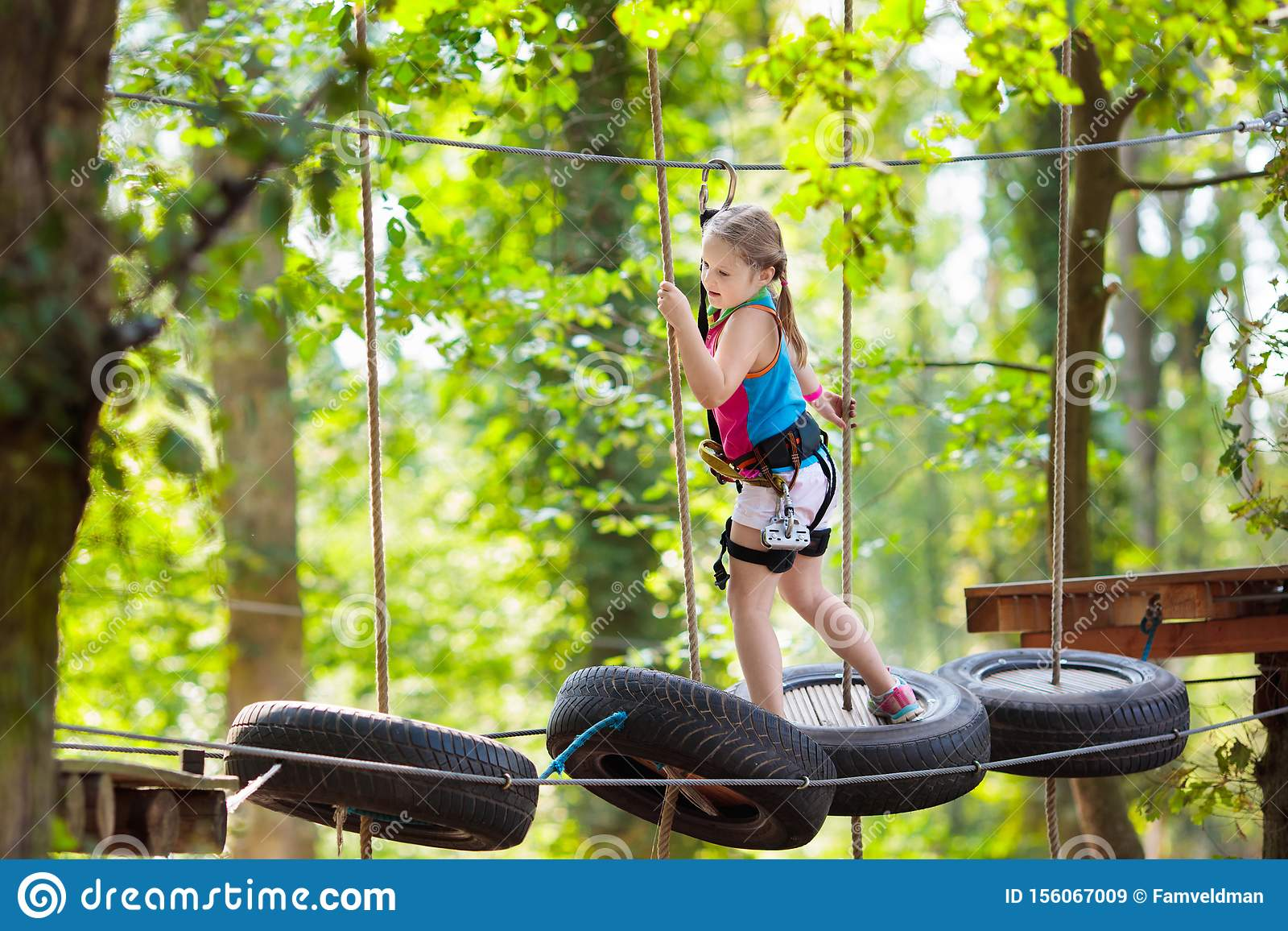 Child In Adventure Park Kids Climbing Rope Trail Stock Image Image Of Ground Extreme 156067009