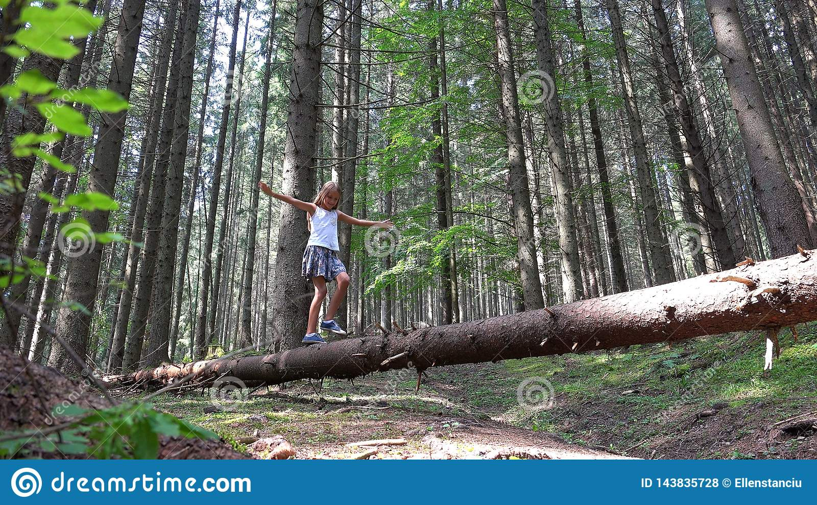 Child in Forest Walking Tree Log Kid Playing Camping Adventure Girl Outdoor Wood