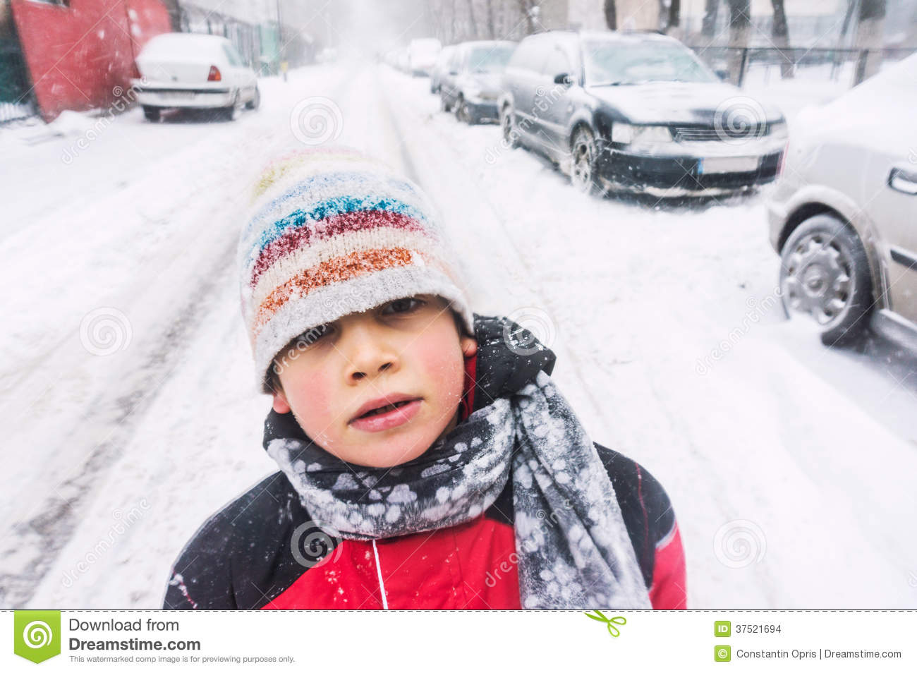 Child In Freezing Cold Weather Stock Images Image 37521694
