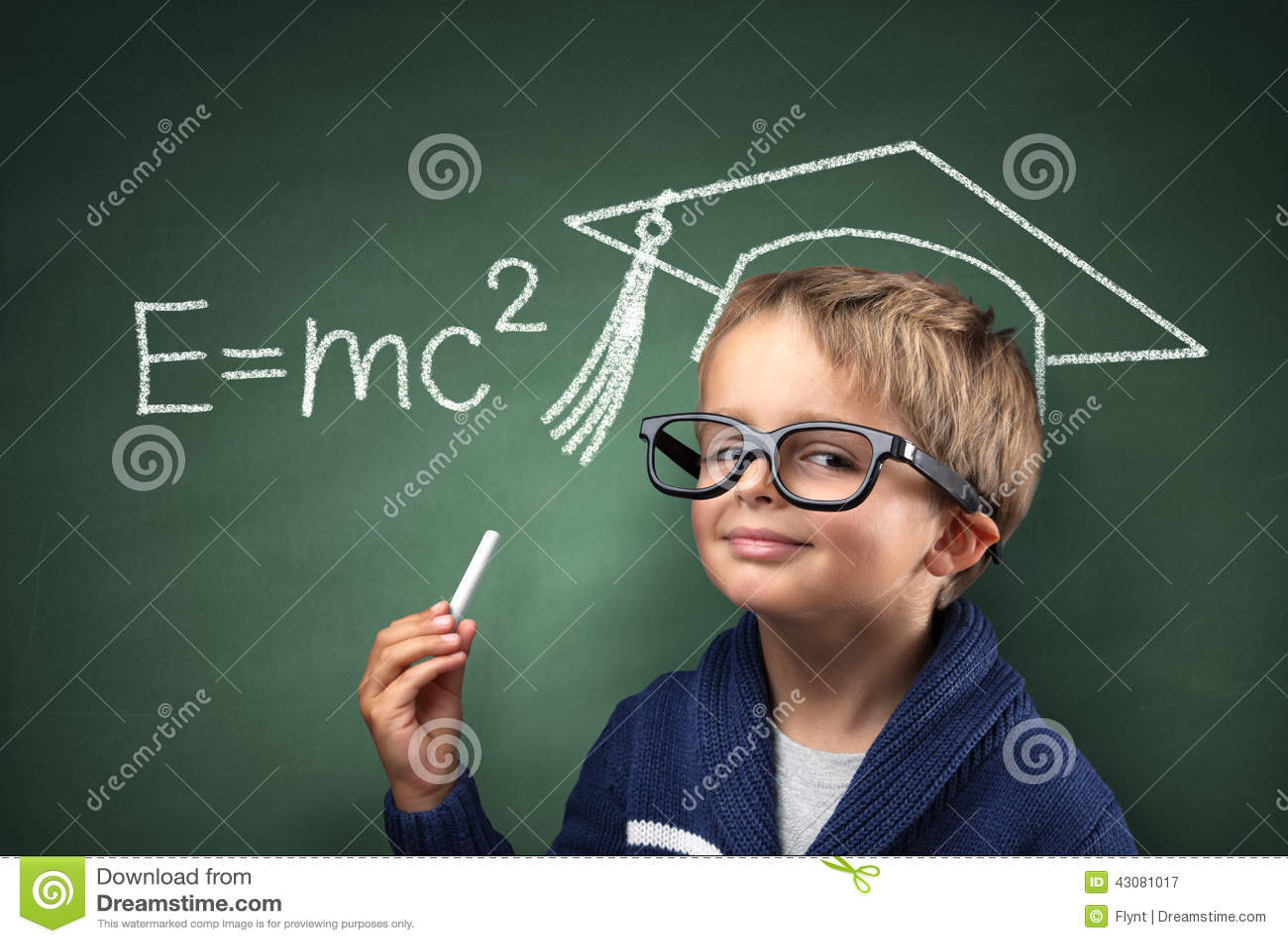 Classroom Chalkboard Ideas ~ Child genius in education stock photo image