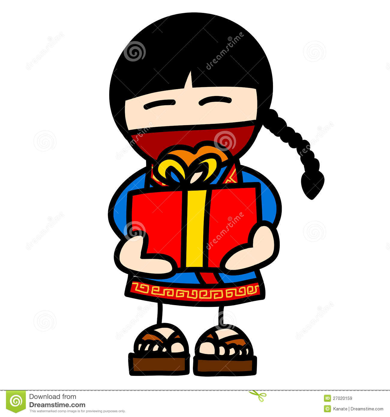 Child And Gift Cartoon Royalty Free Stock Images Image 27020159