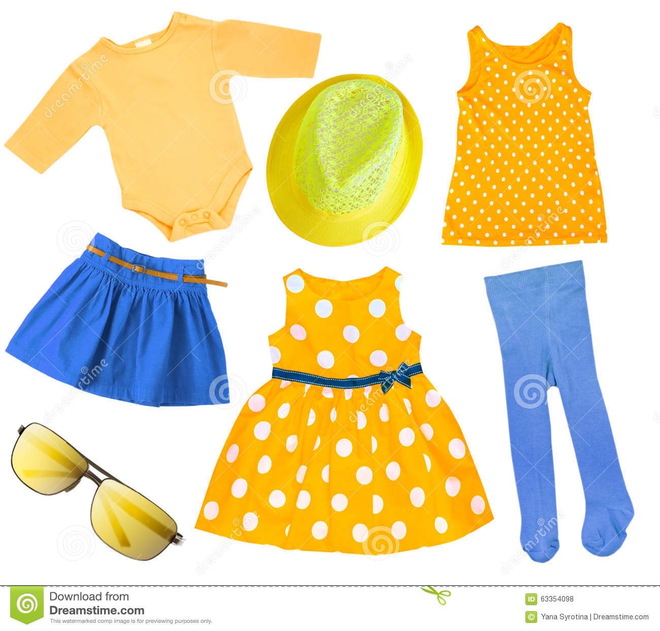 b49d7985803a Child Girl Bright Summer Clothes Isolated. Stock Photo - Image of ...