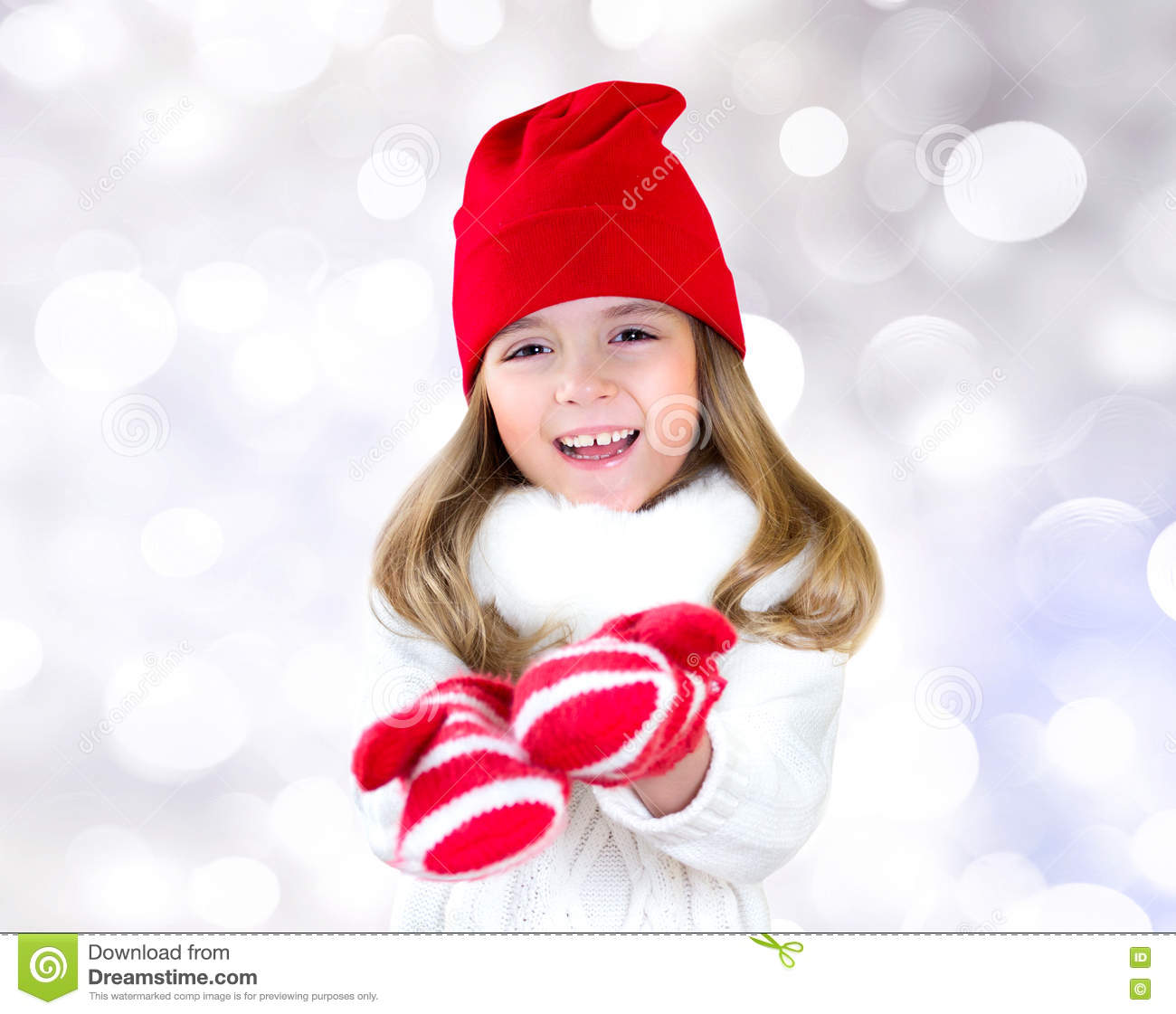 Child Girl Christmas Clothes Stretching Empty Hands. Stock Image ...