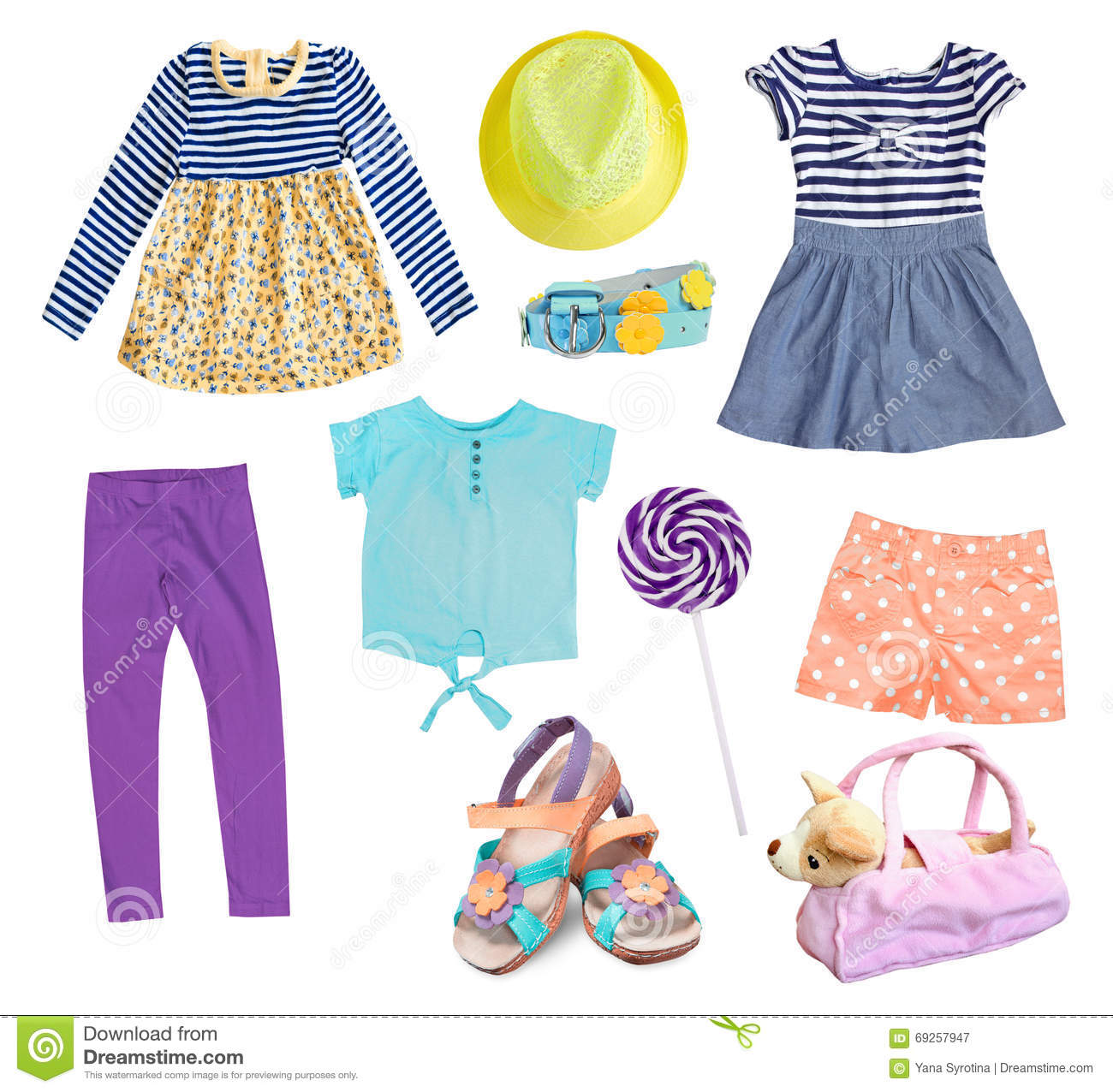 7853cd92d09f Child Girl Clothes Collage Set Isolated On White. Stock Image ...