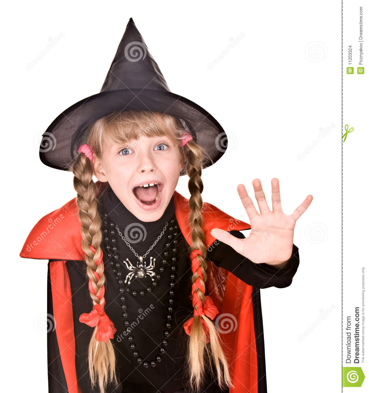 Child Girl In Costume Halloween Witch Hand Stop Stock