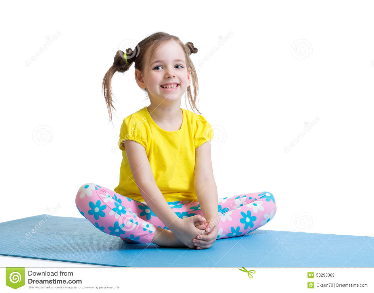 Child Girl Does Gymnastics Sitting In Butterfly Stock ...