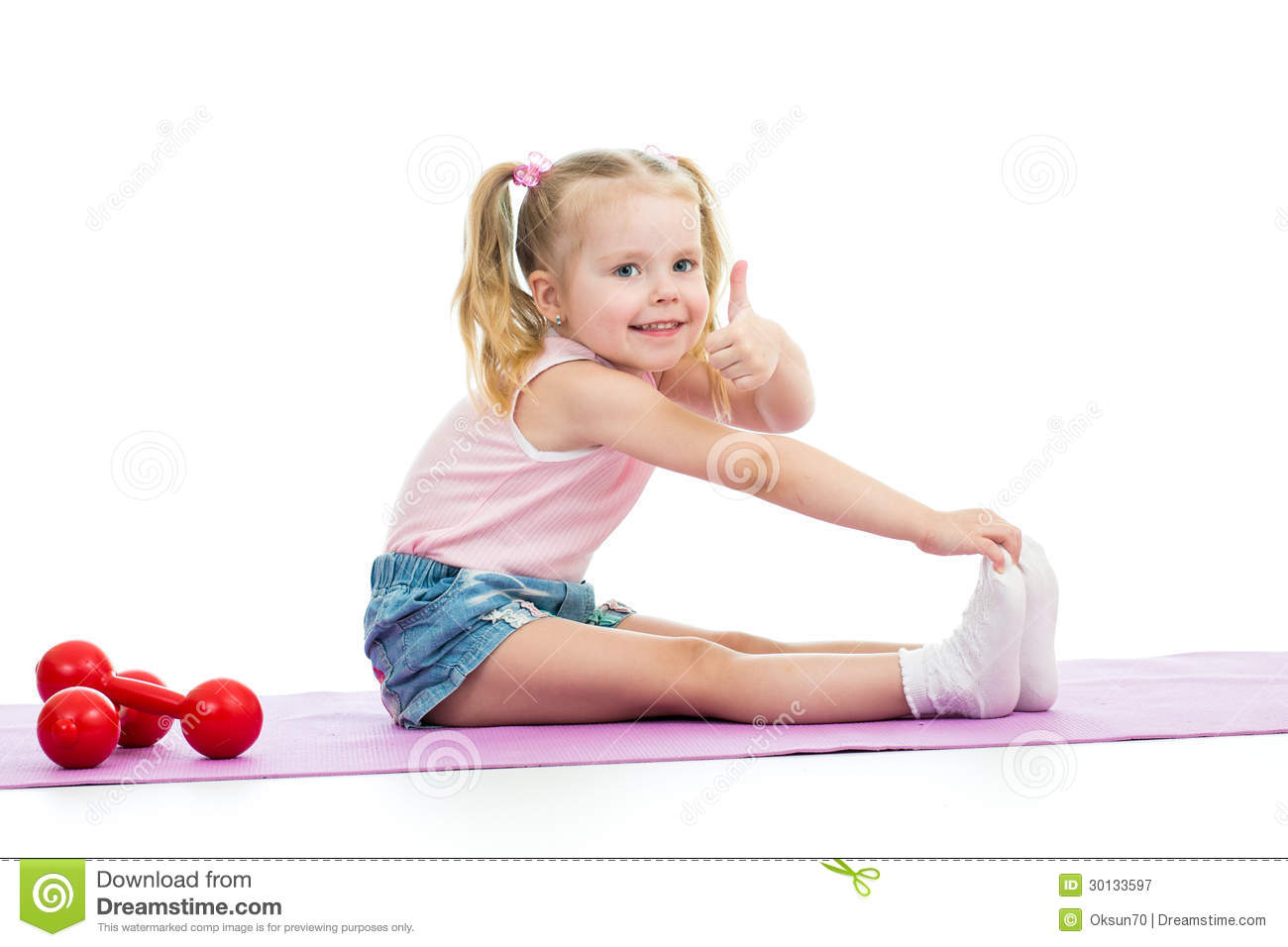 Child Doing Exercises And Showing Thumb Up Royalty Free