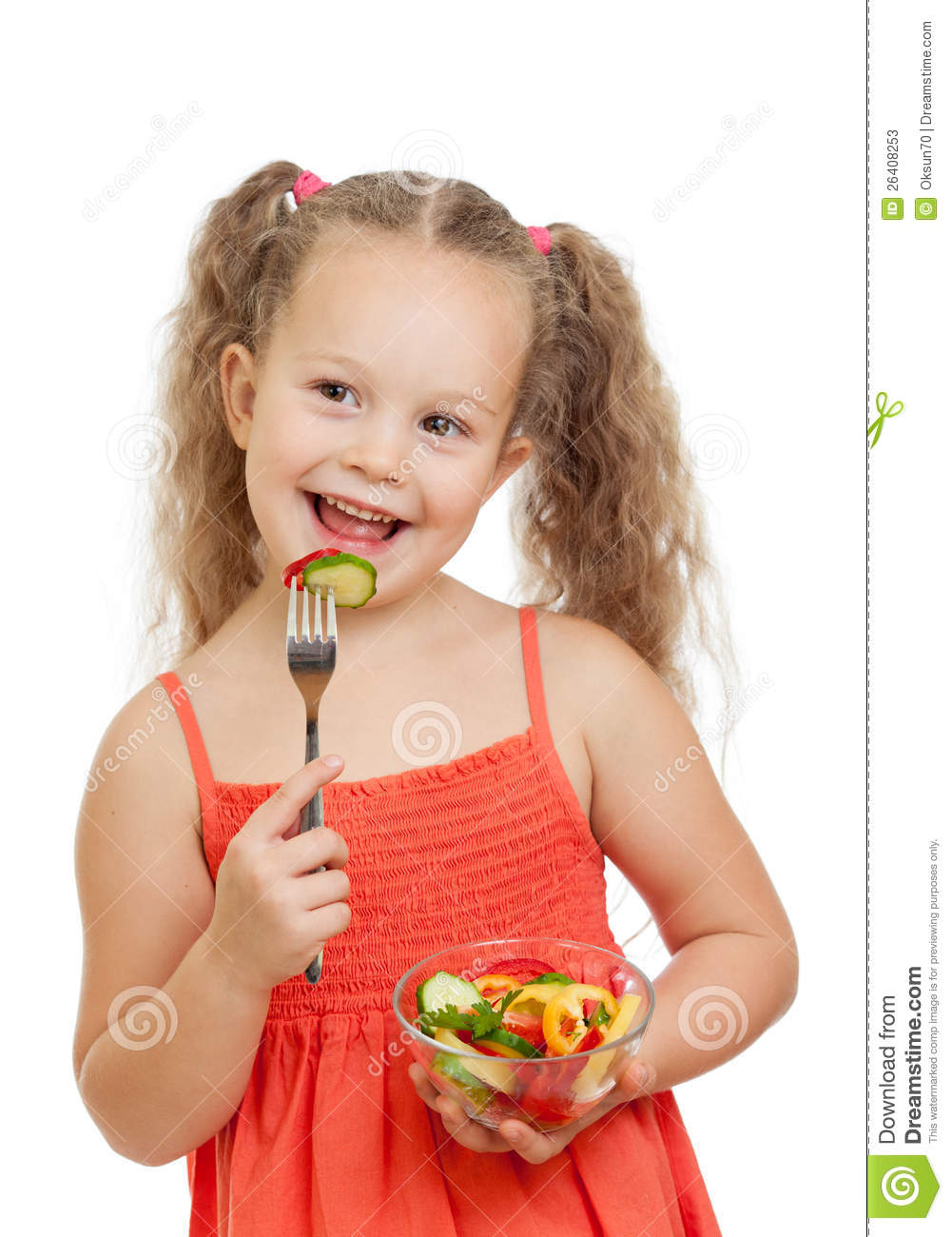 Child Girl Eating With Healthy Food Vegetables Stock