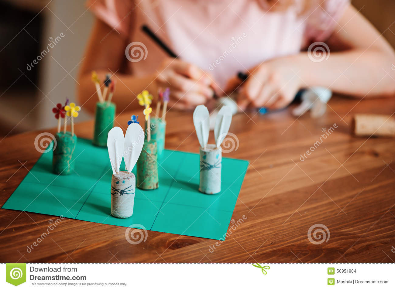 Child Girl Making Easter Craft Tic Tac Toe Game With