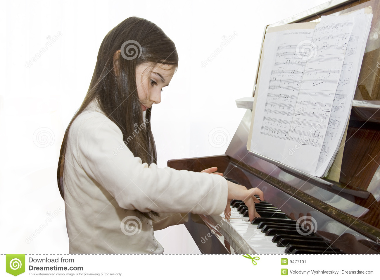 Child girl play piano stock image  Image of arts, cute - 9477101