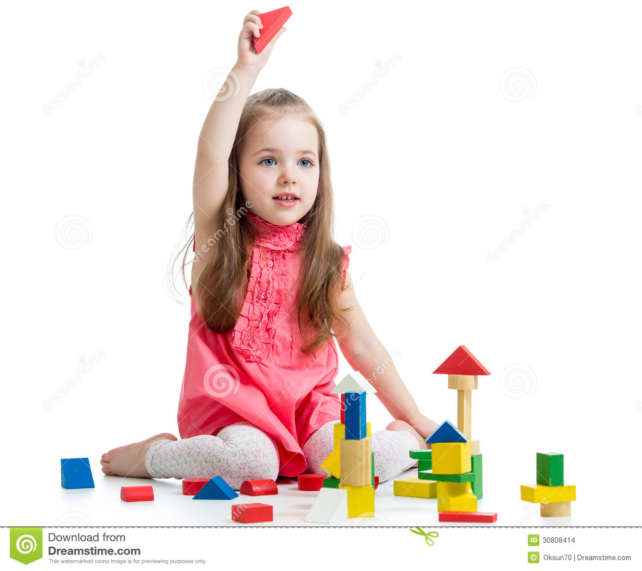 Adorable Little Girl Playing With Beach Toys During: Child Girl Playing With Block Toys Stock Images