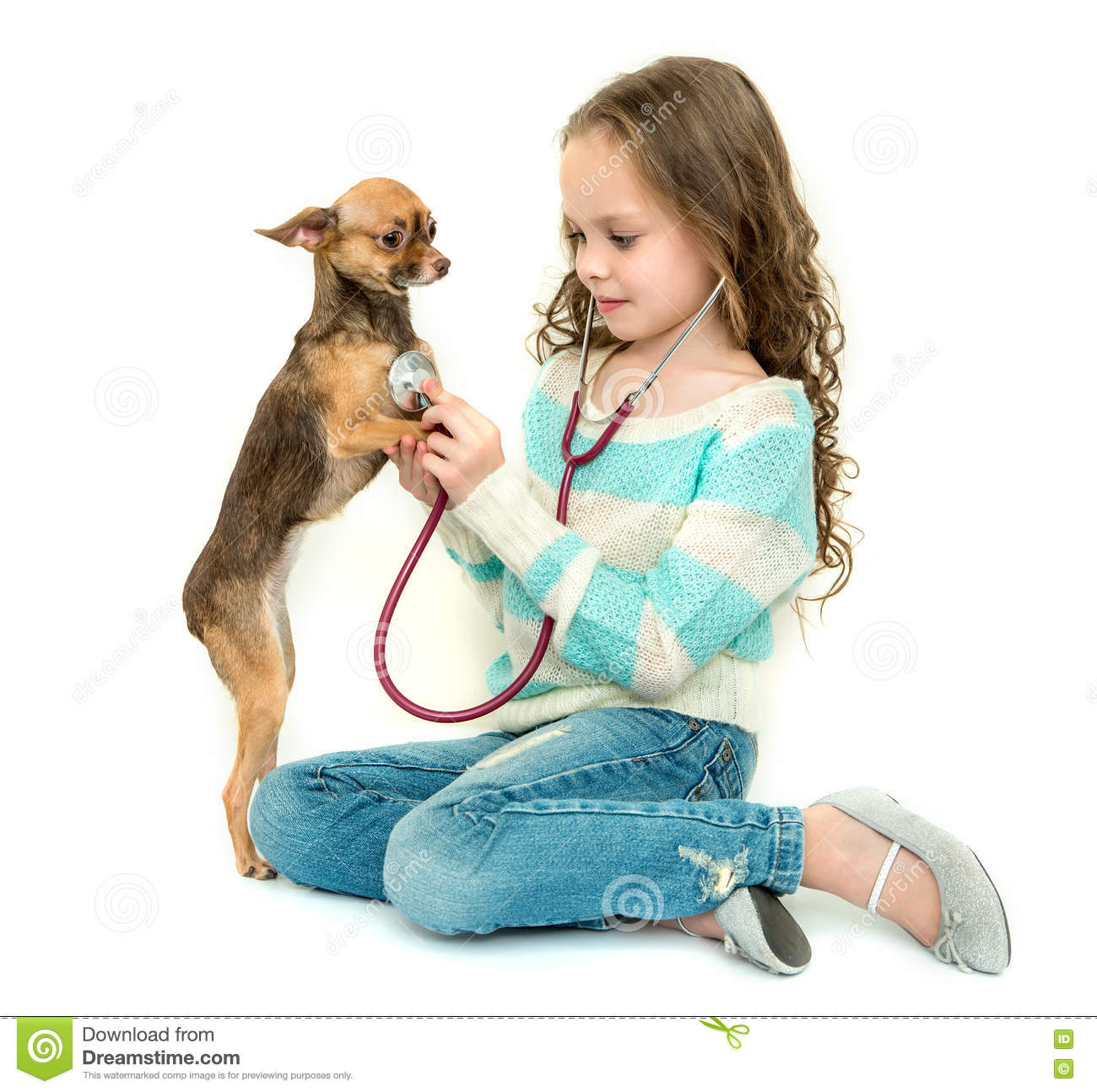 Little Girl Playing With Her Dog Stock Image ...