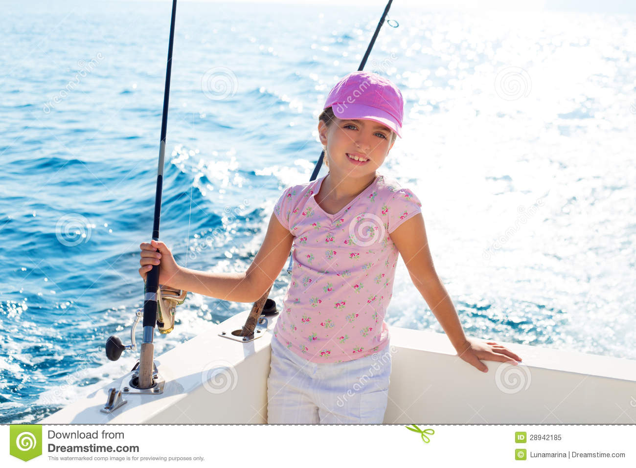 Child Girl Sailing In Fishing Boat Holding Rod Royalty Free Stock ...