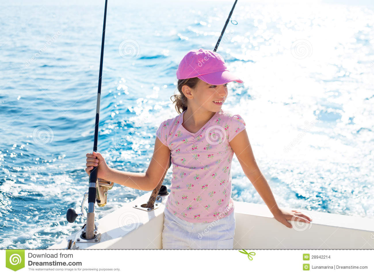 Child girl sailing in fishing boat holding rod stock for Girl fishing pole