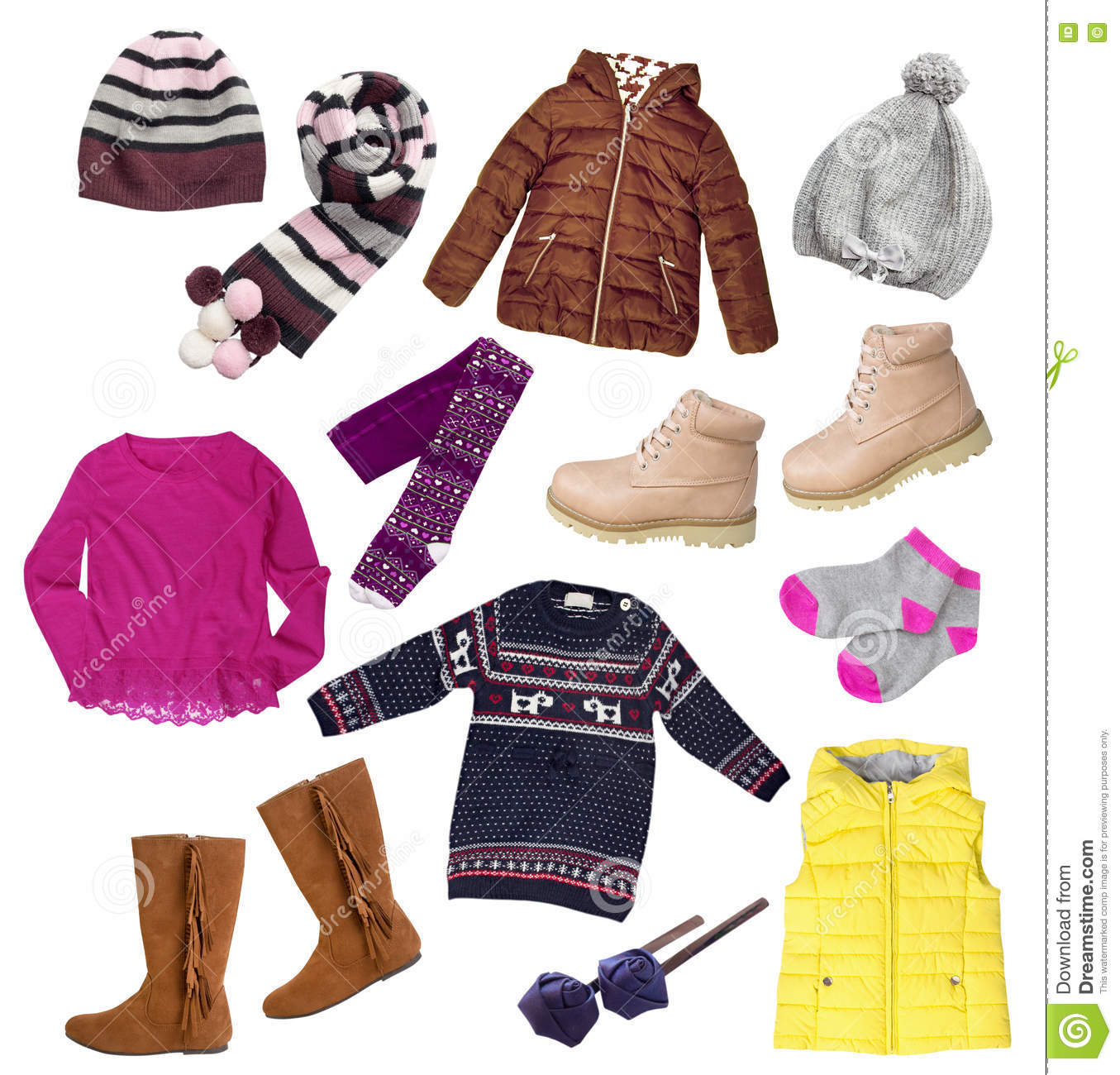 Child girl winter autumn clothes set isolated stock image image 76611145 - Autumn plowing time all set for winter ...