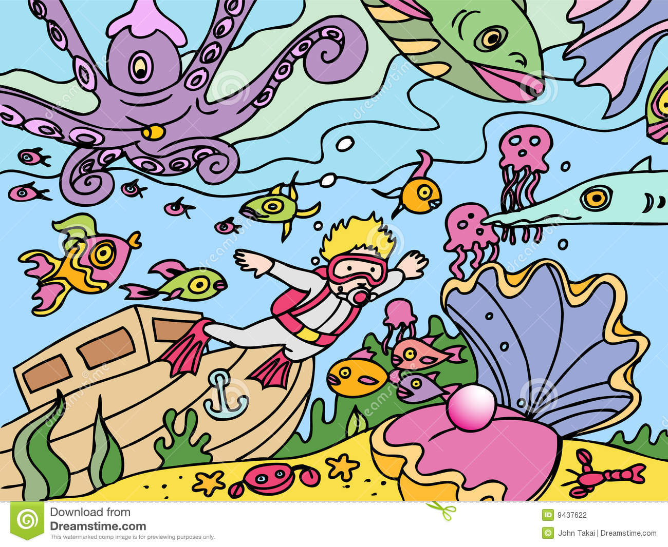 Child goes scuba diving stock vector Illustration of jelly