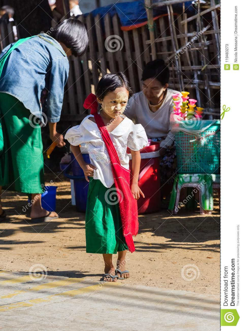 Child goes to elementary school in Ngapali beach, Myanmar