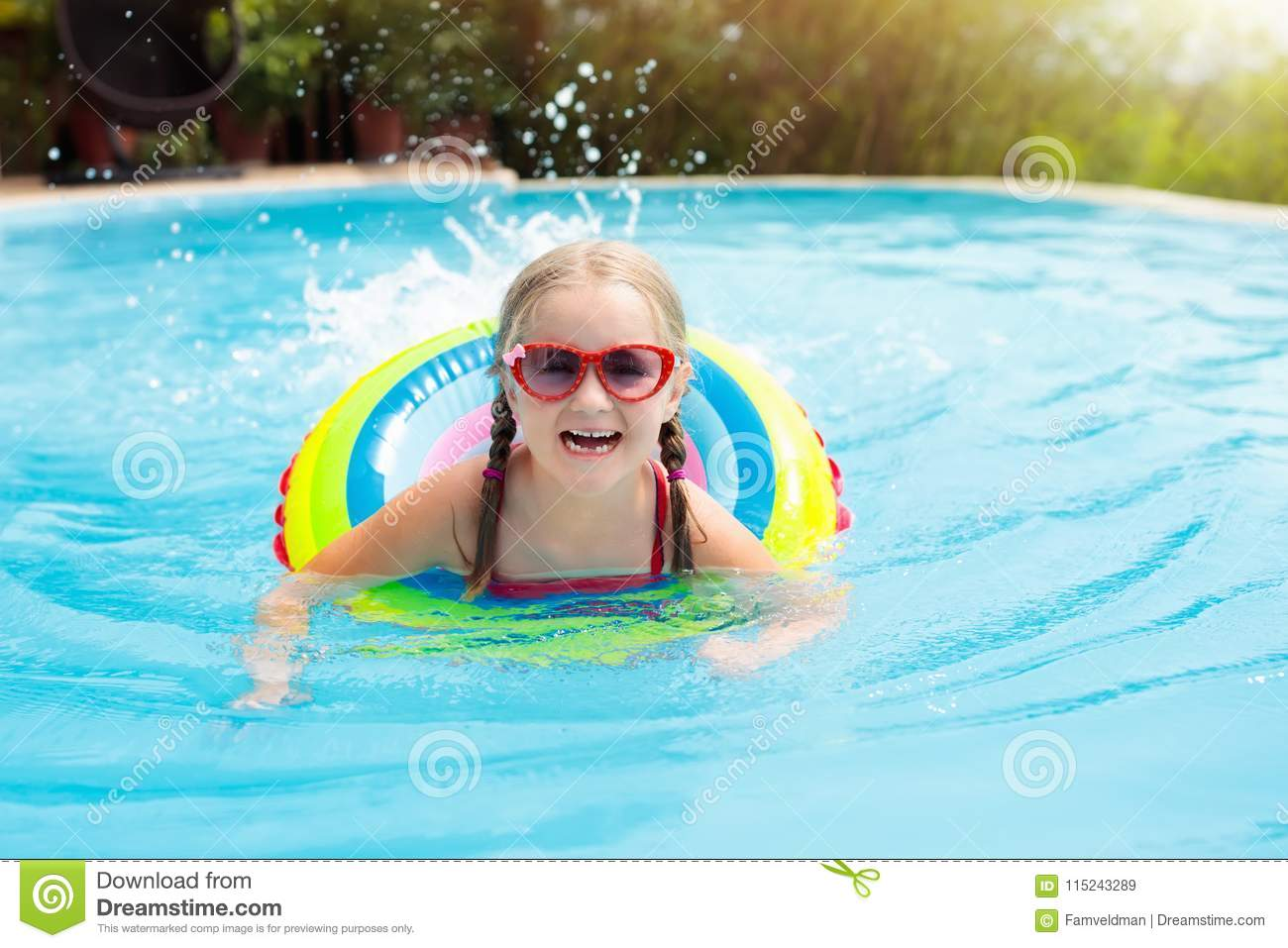 Child in swimming pool kids swim water play stock image - Wetherby swimming pool swim times ...