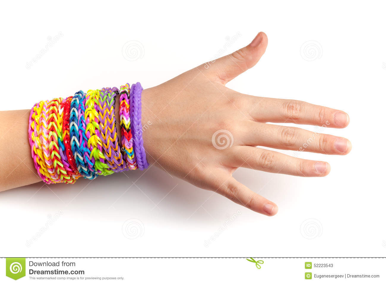 Child Hand With Colorful Rubber Rainbow Loom Bracelets