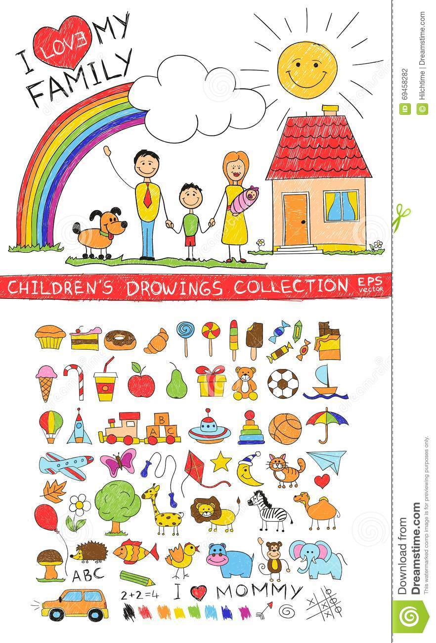 Child hand drawing illustration of happy family