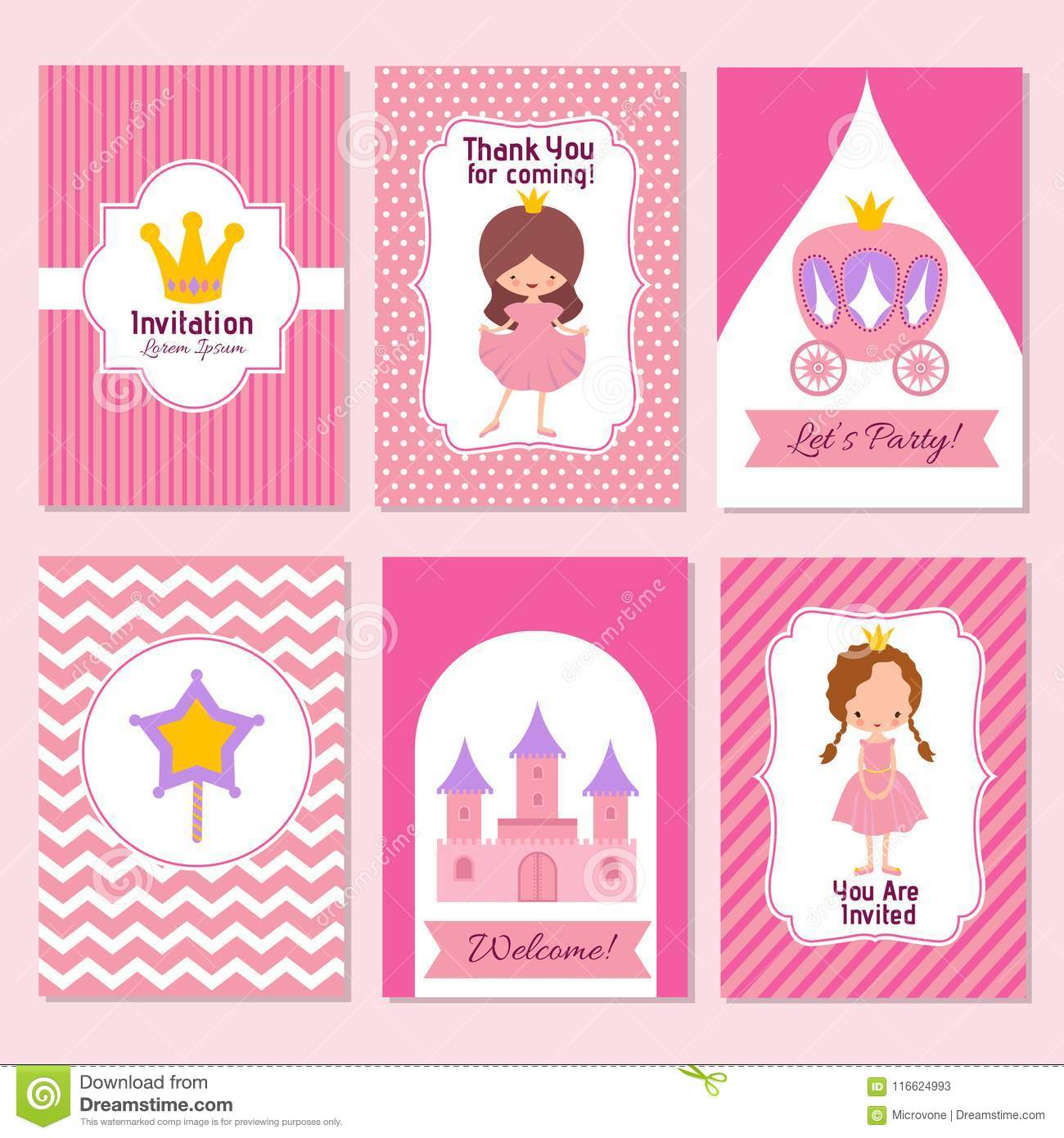 child happy birthday and princess party pink invitation vector