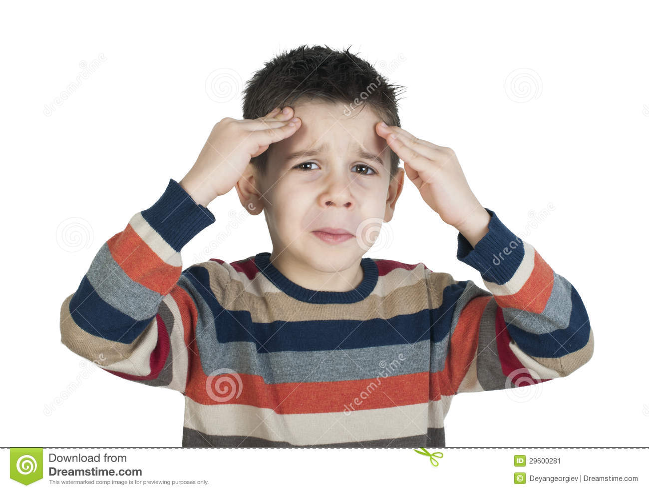 Child Have Headache Stock Image Image 29600281