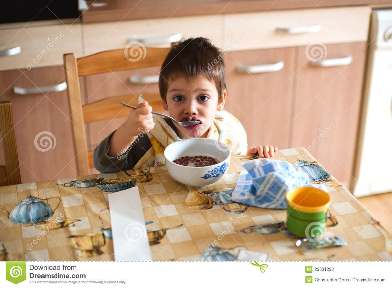 Child Having Breakfast Stock Photo Image 23331290