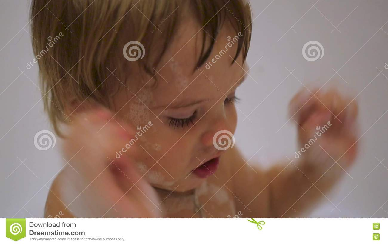 Child Having Fun Playing With Foam In The Bath Stock Footage - Video ...