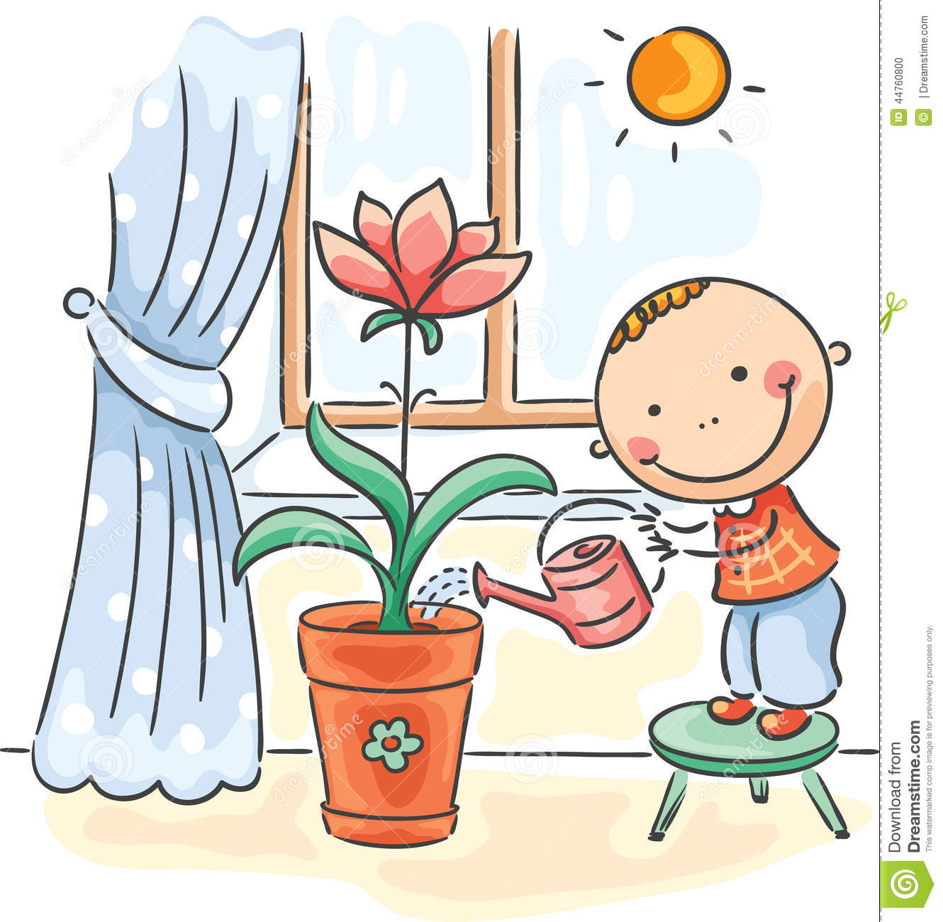 Awesome Child Helping Parents With The Housework   Watering Flowers
