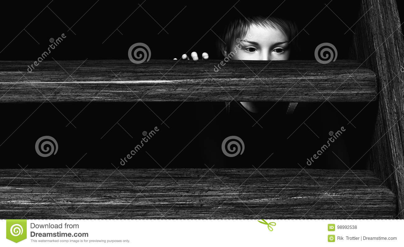 Child hiding under Stairs stock illustration  Image of hidden