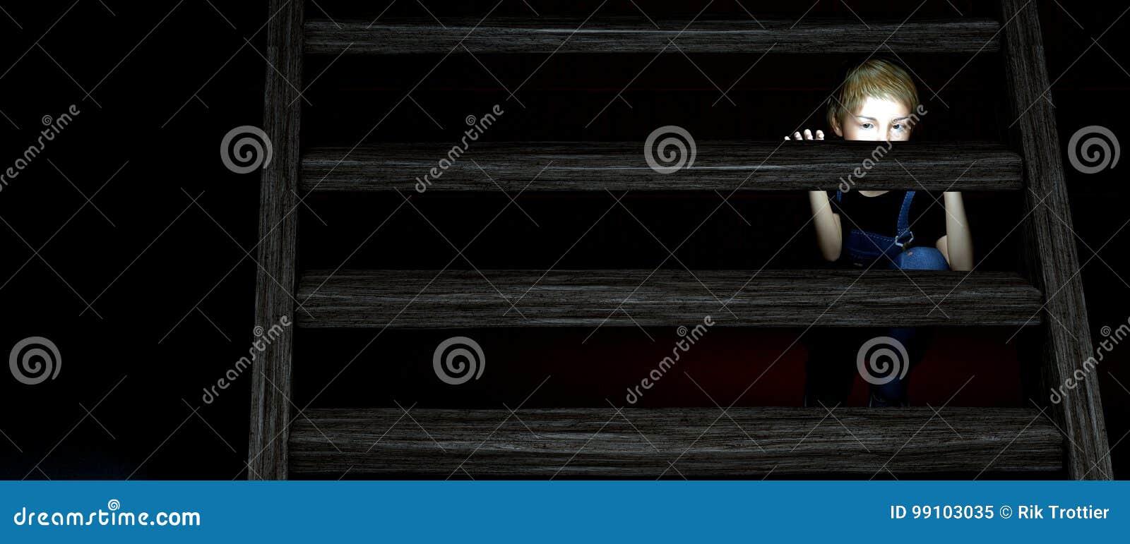 dark basement stairs. Contemporary Basement Download Child Hiding Under Stairs Stock Illustration Illustration Of Eyes   99103035 On Dark Basement