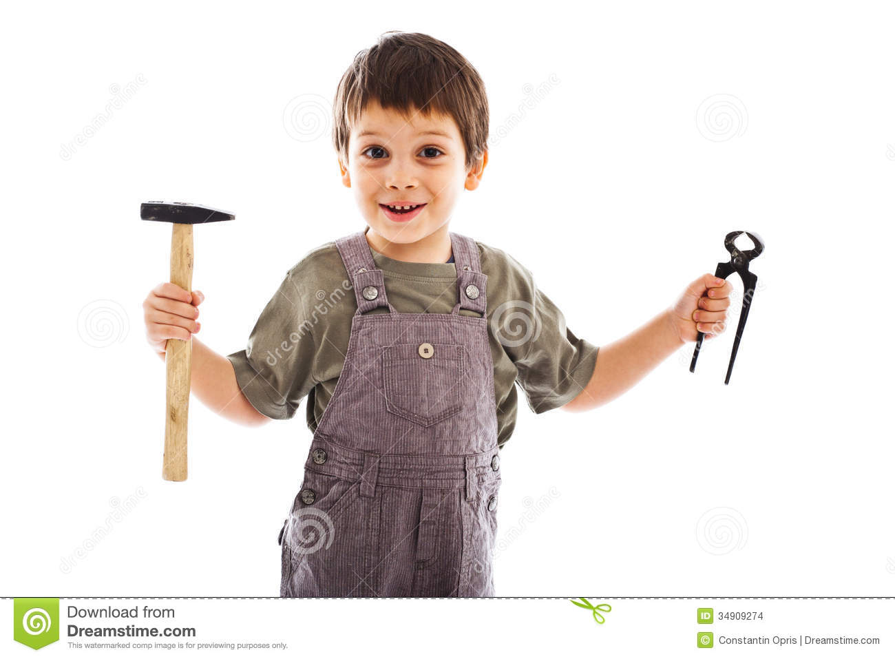 Child Holding Carpenter Tools Stock Images Image 34909274