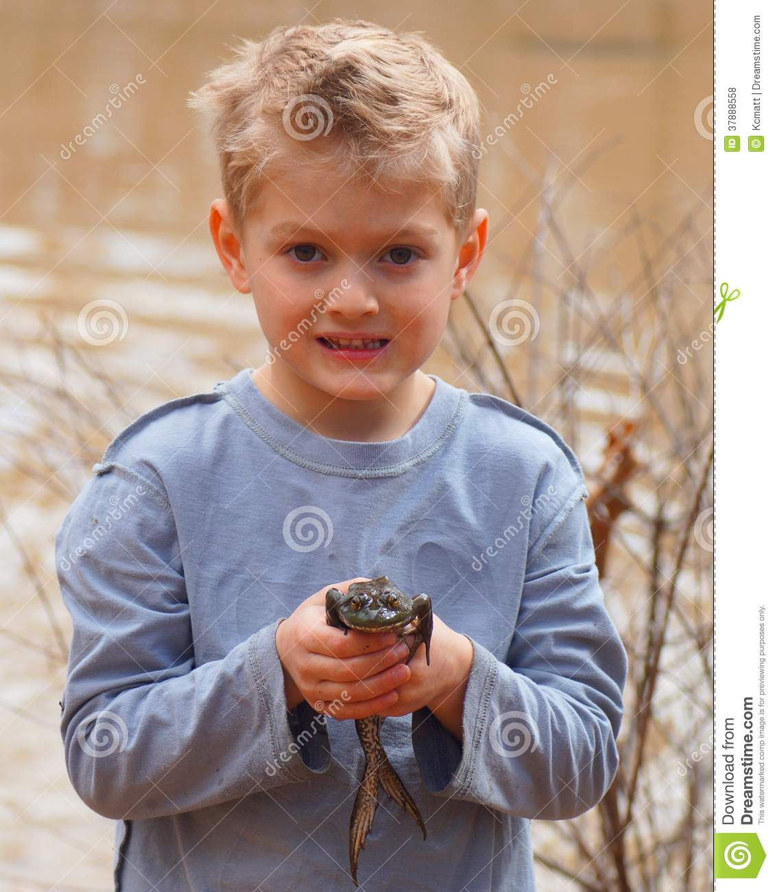 Child holding a large bullfrog
