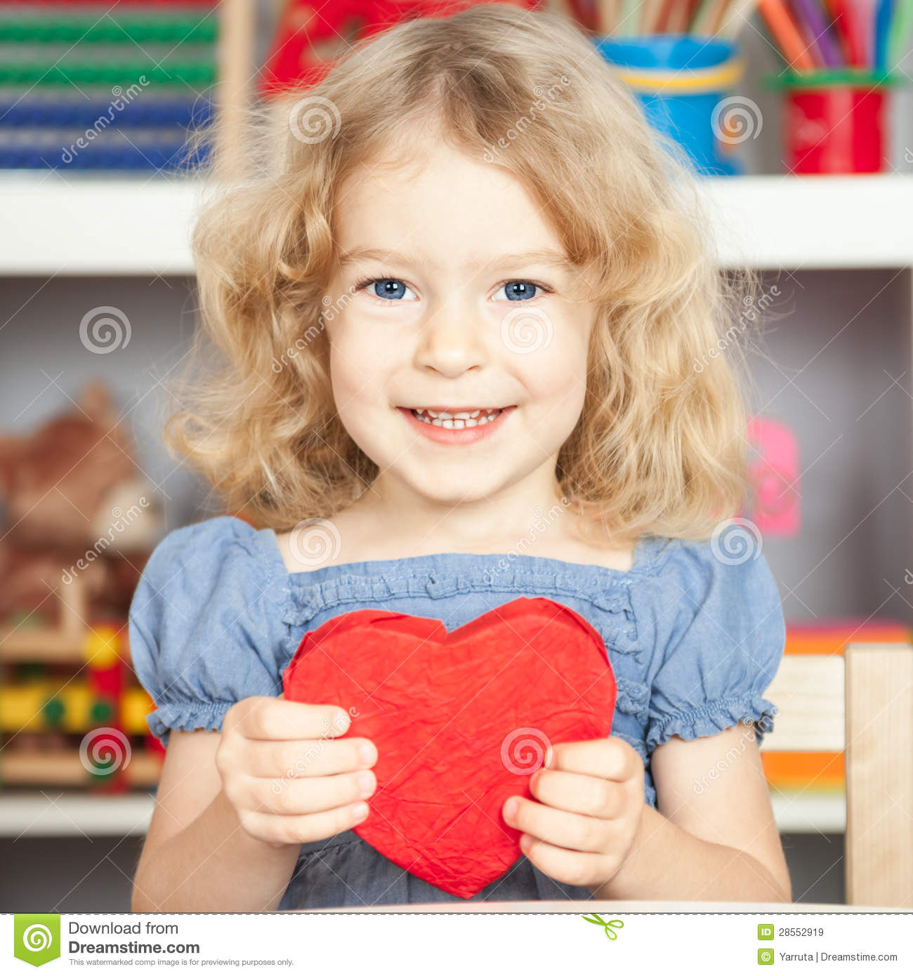 L Love U Bart U A Bby: Child Holding Red Paper Heart Stock Image