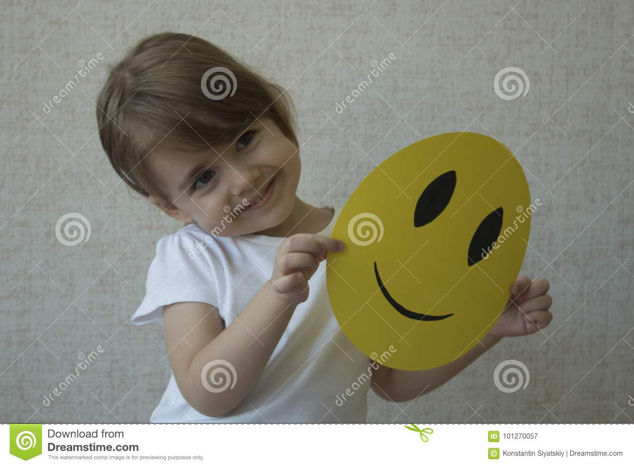 Kid Holding Circle Of Yellow Face A With Smile Instead Emoticon