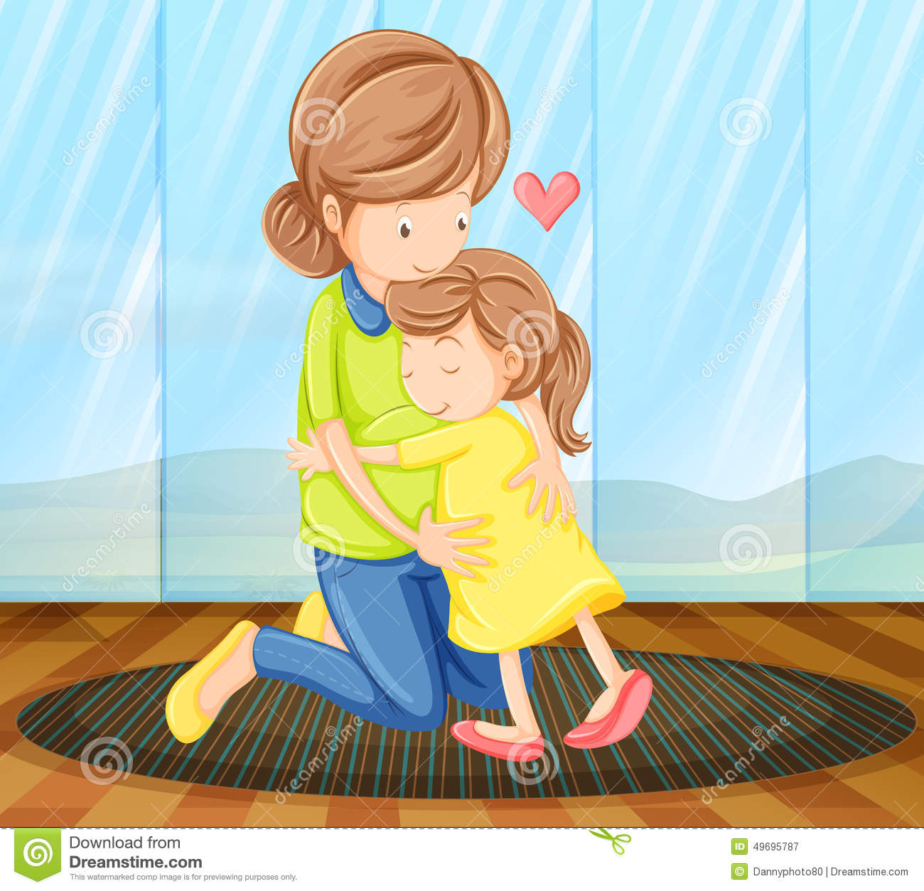 Stock Illustration Child Hugging Her Mother View Image49695787 on 16 X 20 Floor Plans