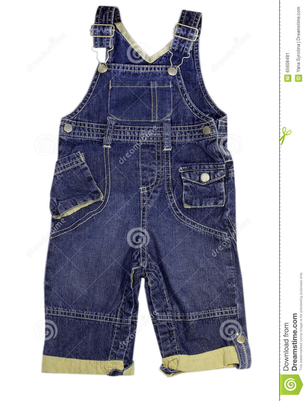 Child Jeans Male Trousers Jumpsuit Isolated Stock Image