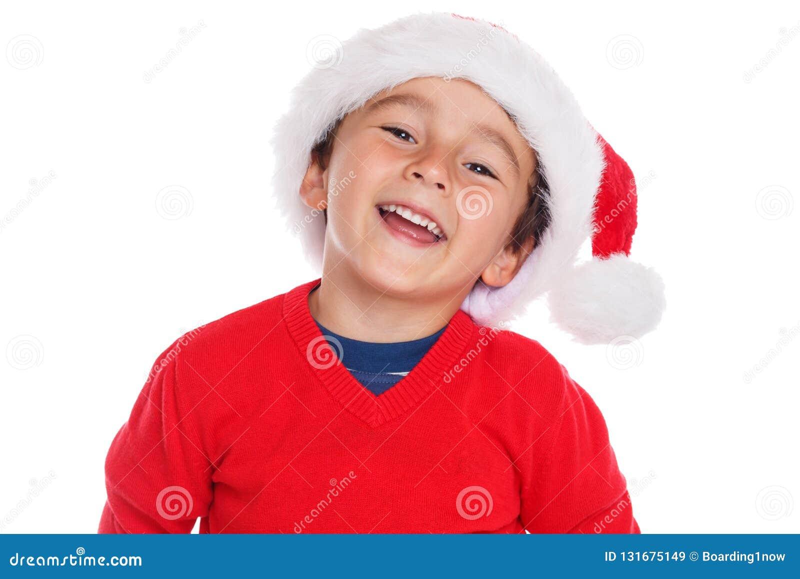 Child kid boy Christmas Santa Claus smiling happy isolated on white background