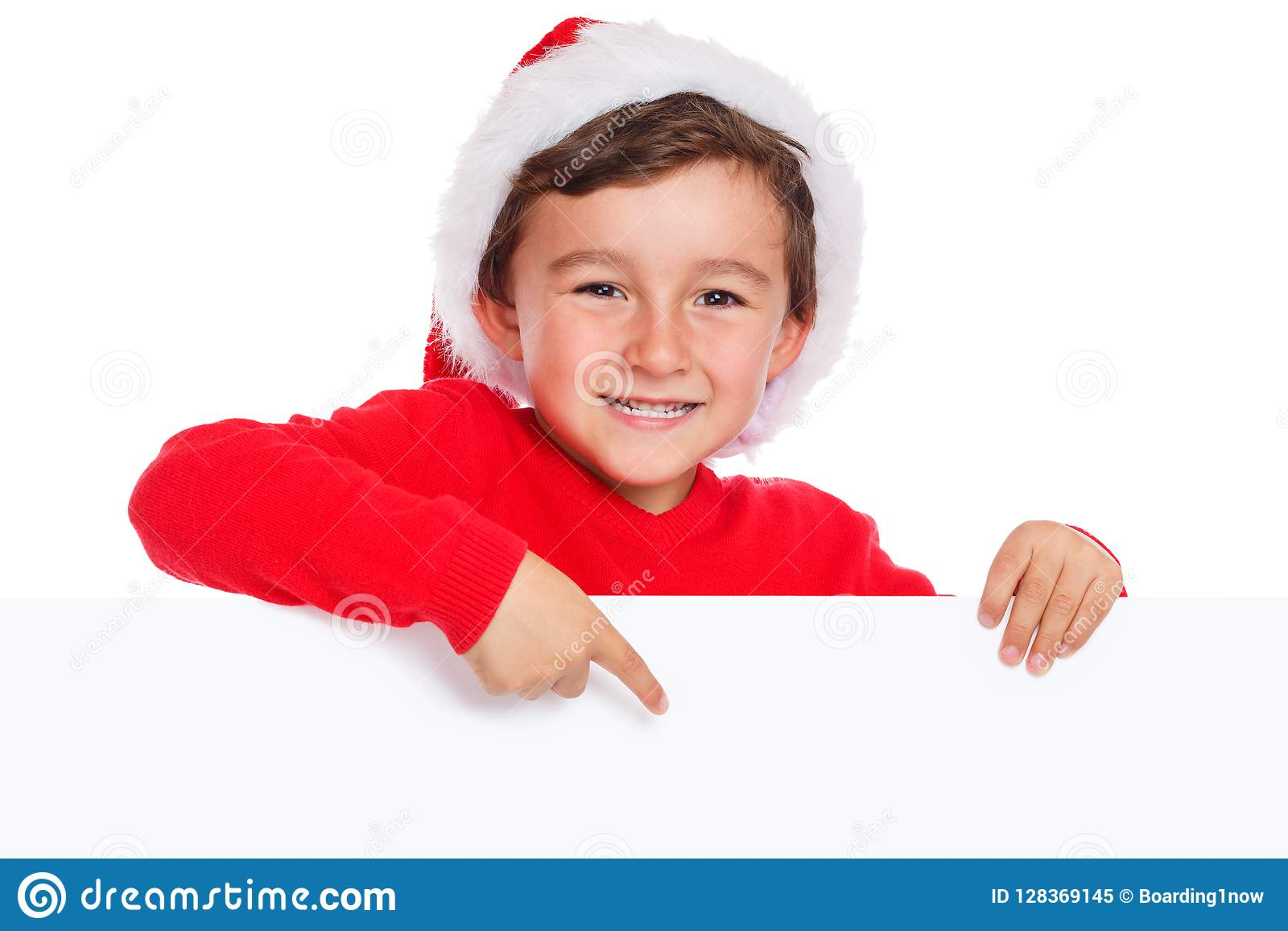 Child Kid Christmas Santa Claus Pointing Happy Empty Banner Copy ...