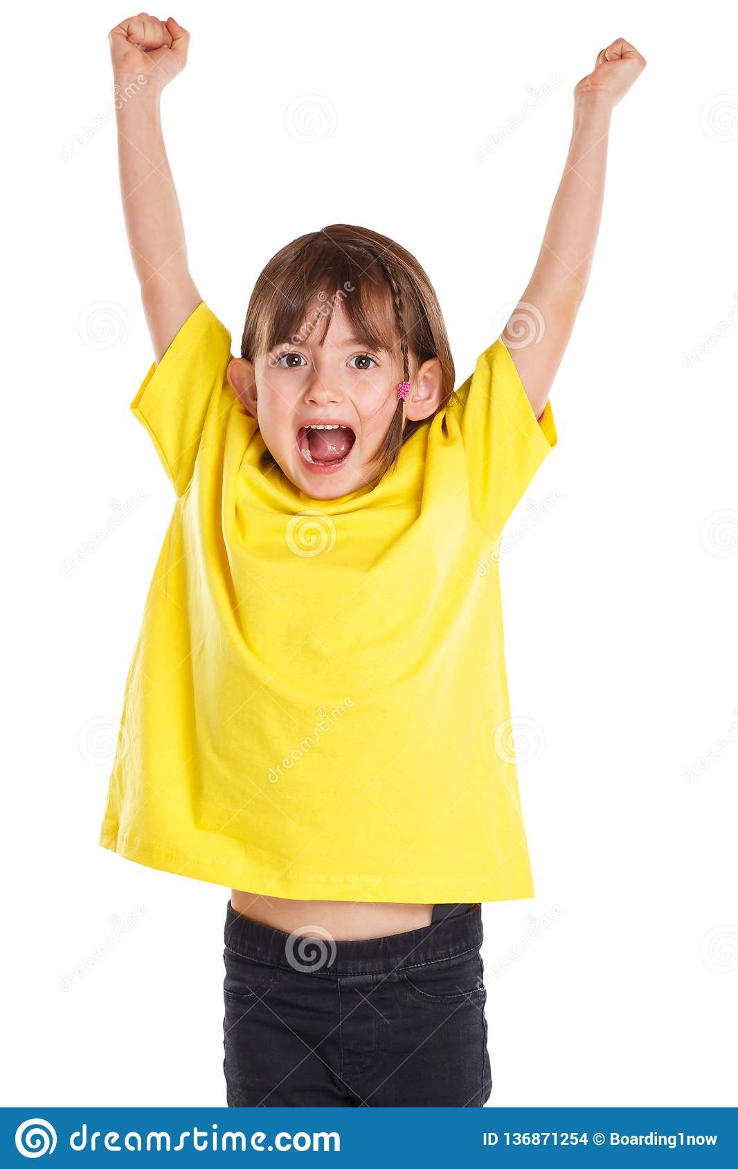 Child kid girl happy happiness success successful good fun jumping young isolated on white