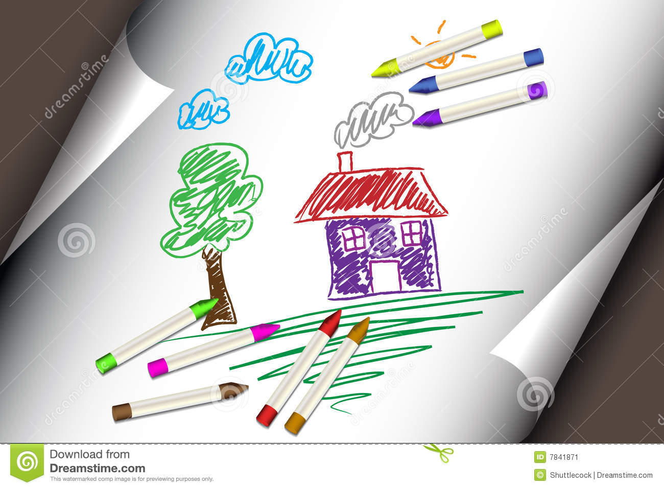 child kids drawing of a house or home stock vector illustration of