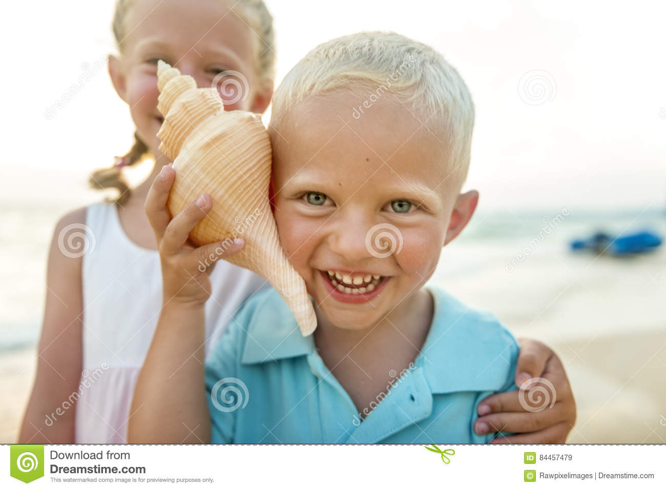 Child Kids Sibling Beach Summer Vacation Concept