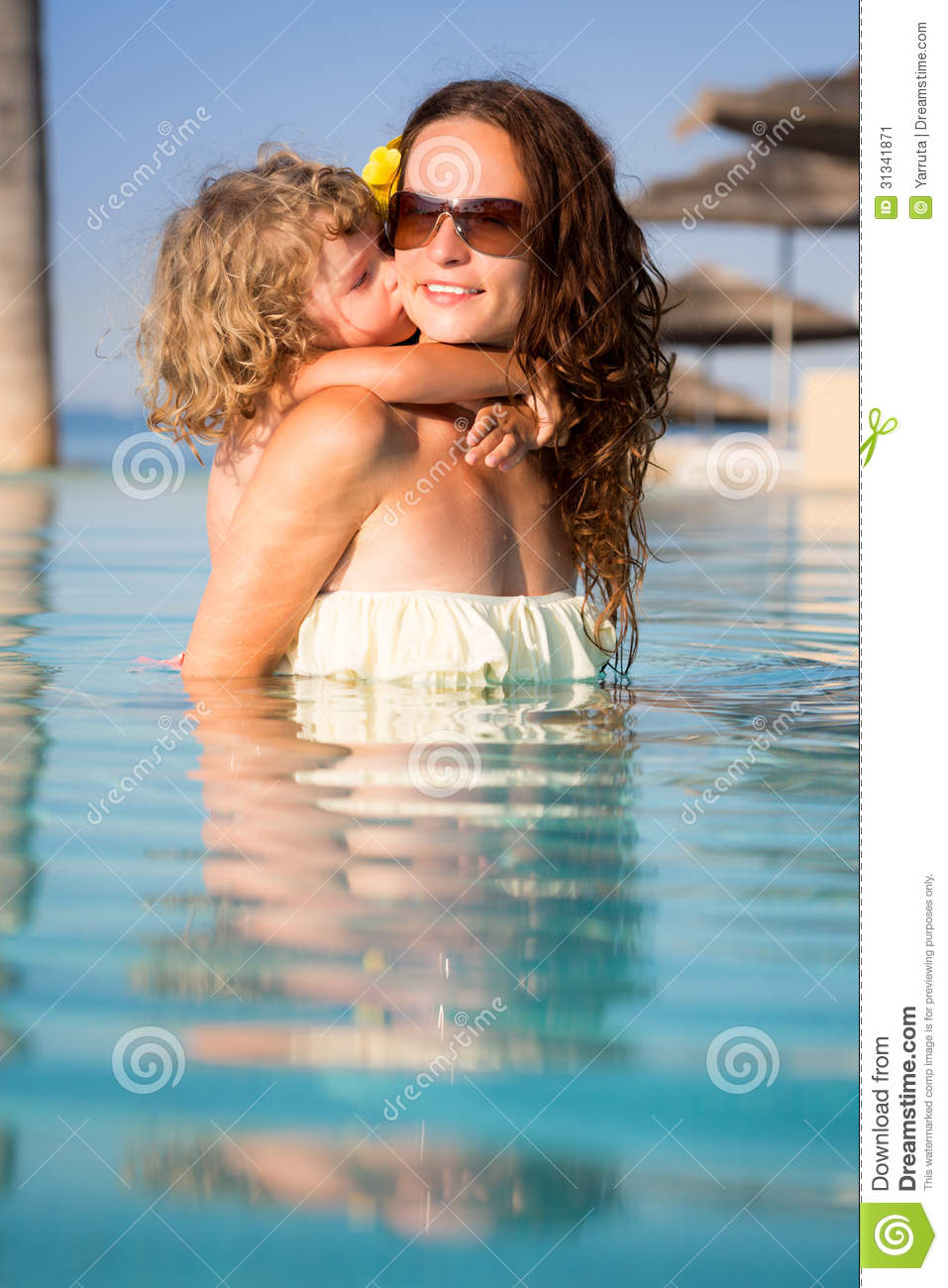 Child Kissing Woman In Pool Stock Image Image Of Kissing